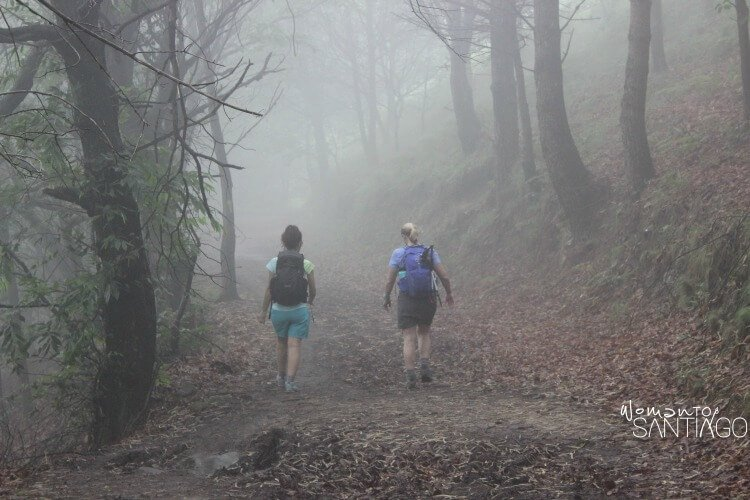 foto de peregrinas en el camino con un sendero con niebla