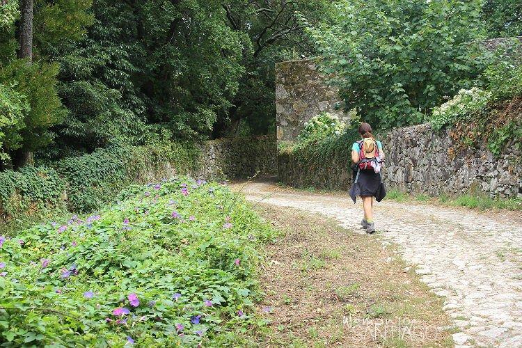 peregrina caminando por sendero del camino de la costa