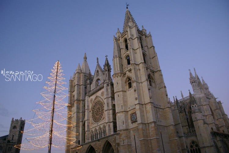 Catedral de León con árbol de Navidad