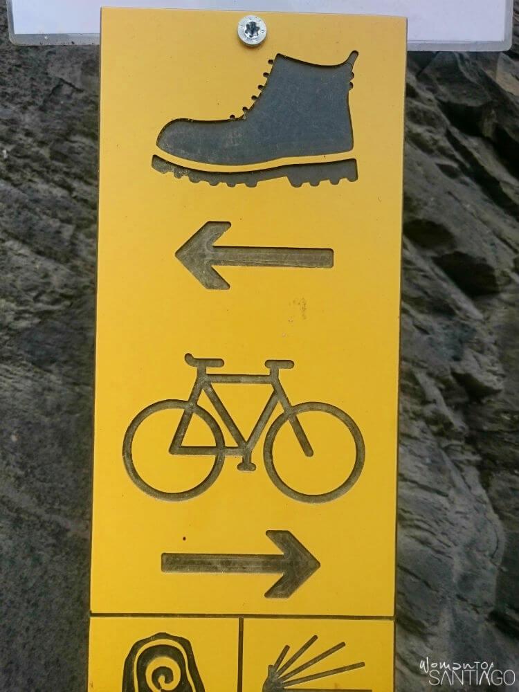 Señal del Camino de Santiago a pie o en bicicleta