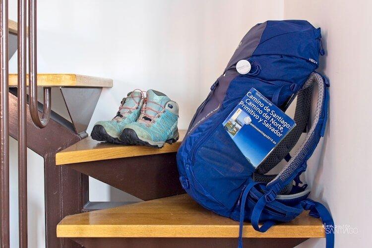 Guía práctica del Camino de Santiago: Camino del Norte, Primitivo y Salvador en una mochila azul