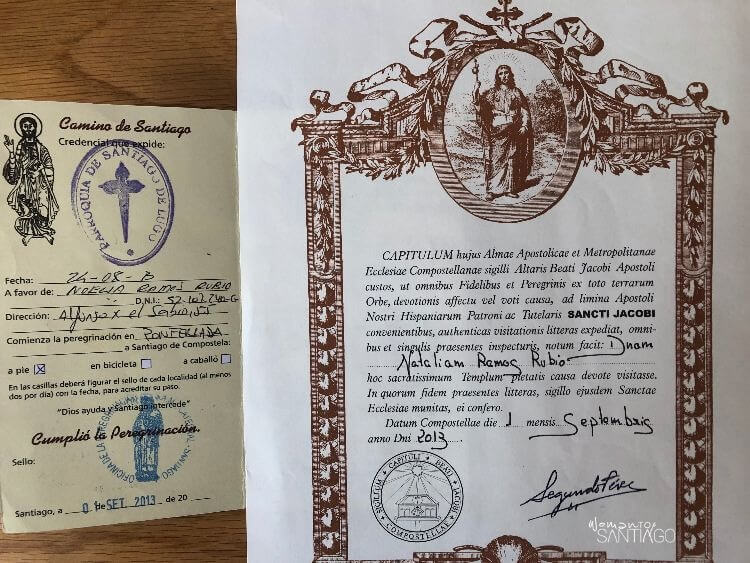 Credencial y Compostela del Peregrino