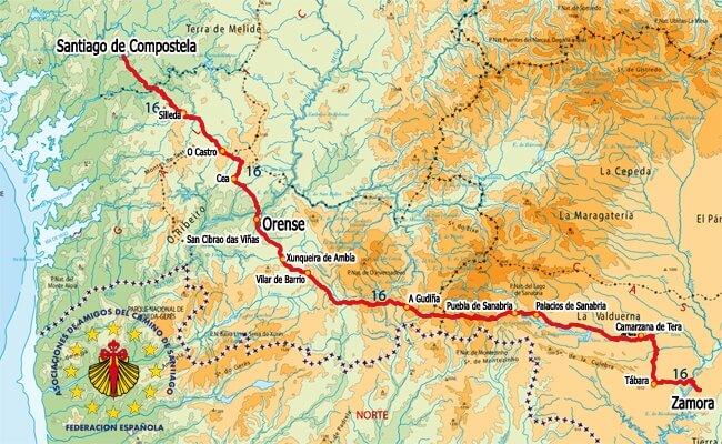 Mapa del Camino Sanabrés de la Federación Española de Asociaciones de amigos del Camino de Santiago