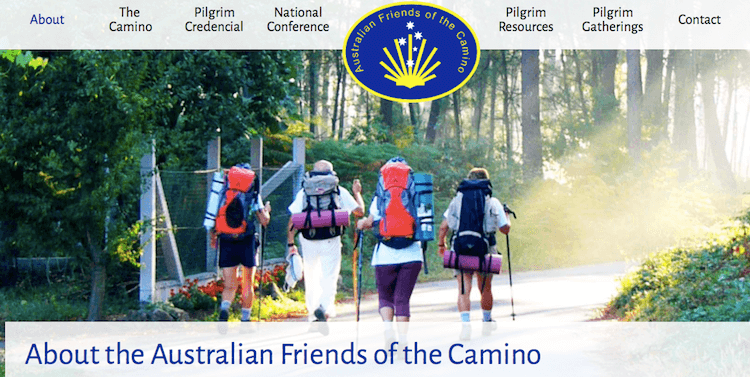 Australian Friends of the Camino pantallazo de su web