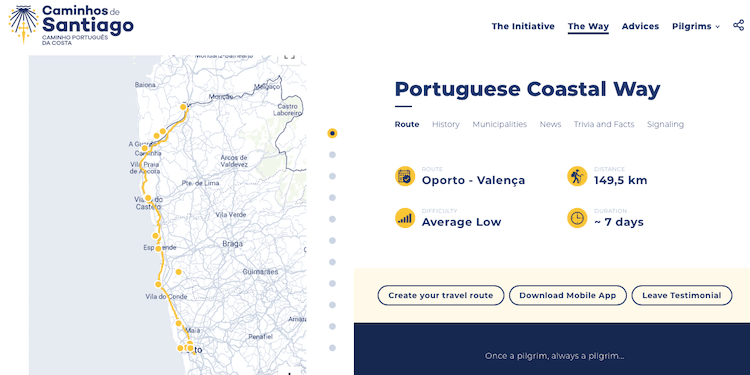 pantallazo portuguese coastal way