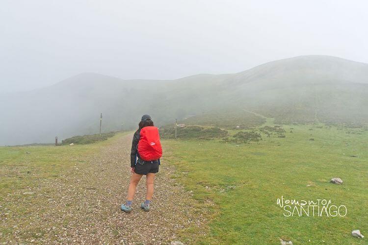 Peregrina con mochila roja de espaldas en el Camino Francés