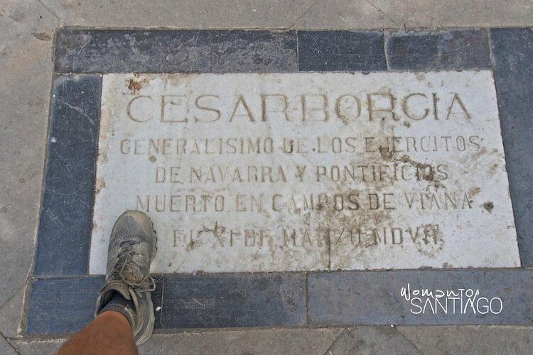 Cesar Borgia con una de las frases del Camino de Santiago