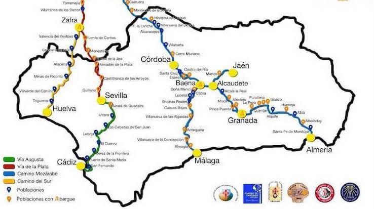 Mapa de la Federación Andaluza de Amigos del Camino de Santiago