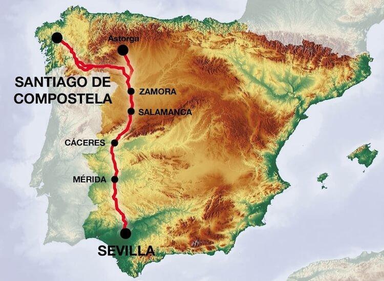 Mapa del Camino de Santiago por la Vía de la Plata