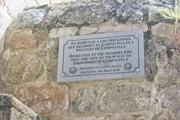 Placa homenaje al camino inglés en A Coruña