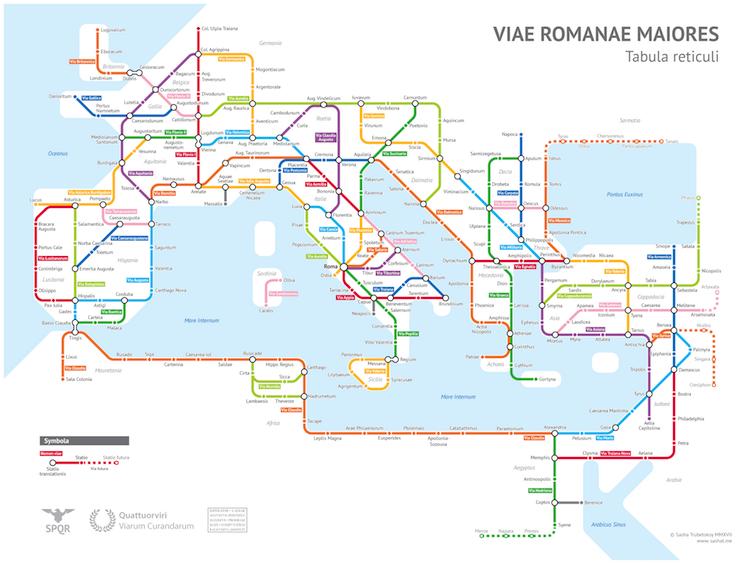 Mapa de las calzadas romanas del Imperio Romano
