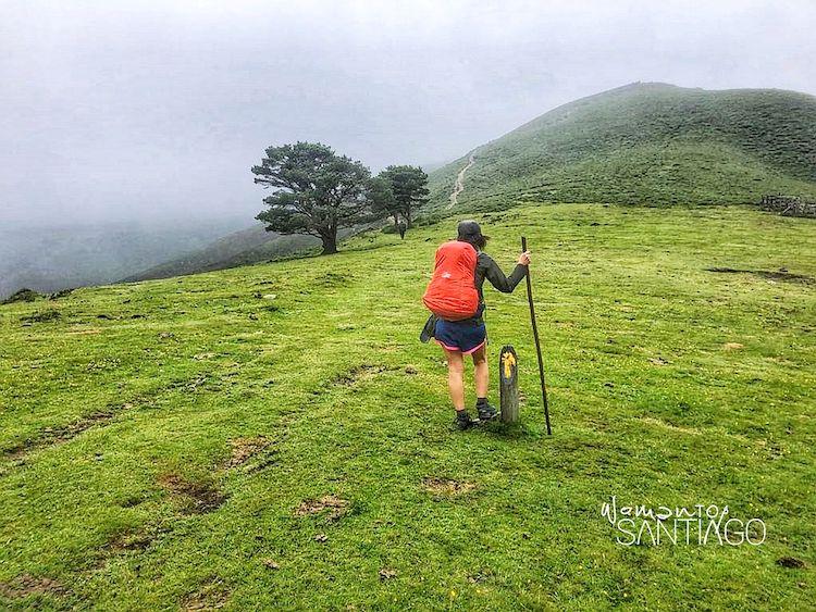 Peregrina en el Camino de Santiago de espaldas